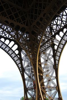 Lace-like details of Eiffel Tower.
