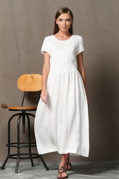 White Linen Dress - Semi-Fitted Summer Fashion Casual Everyday Womens Dress Plus Size Clothing C536