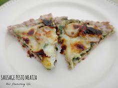 Sausage Pesto Meatza #justeatrealfood #thisflourishinglife