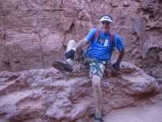 """His shoe had a Grand Canyon blowout, but Danny informed us, """"I Survived The Supai Trail with Thorlos!"""" Thanks Danny for sharing your story and photo!"""