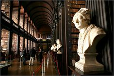 A bust of Jonathan Swift - Long Room of the library at Trinity College Dublin Modest Proposal, Trinity College Dublin, Georgian Interiors, Jonathan Swift, Carol Burnett, Book Of Kells, Federal Agencies, World Of Interiors, Double Take