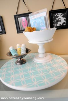 Serenity Now: Stenciled Lazy Susan (for Crafts or the Kitchen!)