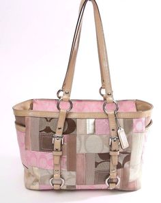 Coach Pink/Beige/Brown Signature Patchwork Tote-Shoulder bag-Purse #Coach #TotesShoppers