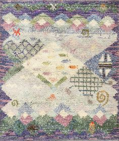 Beautiful Shag Vintage Swedish Rya Rug 48797