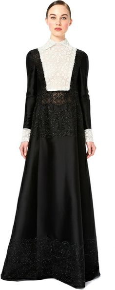 VALENTINO   Long Sleeved Gown with Embroidered Bodice and Lace Trim - Lyst #Apostolicfashion #modestfashion #modestdress #tzniutfashion #classicdress #formaldress #kosherfashion #apostolicclothing