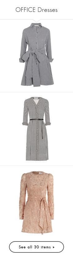 """""""OFFICE Dresses"""" by miralmxdx ❤ liked on Polyvore featuring dresses, jackets, black, sleeved dresses, cotton dress, mini dress, short dresses, gingham print dress, gingham wrap dress and hounds tooth dress"""