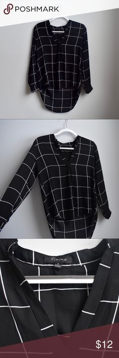 6fb21c84fded Black and White Checkered Blouse Black and white striped blouse Brand:  Timing Size: Labeled