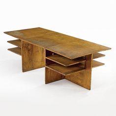 // Frederick Kiesler; Ash Plywood and Steel Desk, c. 1935.