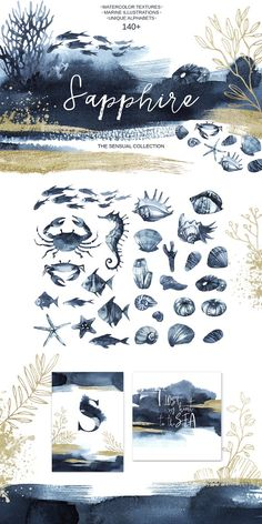 """SAPPHIRE"" Watercolor collection. by Anastezia Luneva on @creativemarket"
