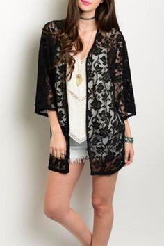 This gorgeous lace kimono features an open front and 3/4 sleeves. Perfect for pairing with shorts or over a dress.   Black Lace Kimono by Humanity. Clothing - Jackets, Coats & Blazers - Kimonos & Wraps Columbus, Ohio