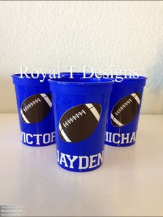 12oz Personalized Football Party Favor Cups. . $15.00, via Etsy.