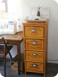 Etag re en caisses de vin en bois decoration pinterest - Meuble caisse de vin en bois ...