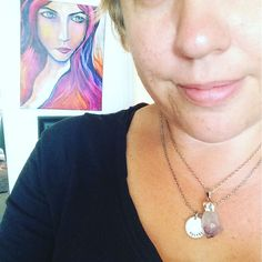 Hanging behind me is the painting that embodies my IGNITE Online Intensive program & around my neck so close to my heart is an amethyst gifted to me by one of my current IGNITEES an amazing woman and sci-fi writer named Kathy Kitts.  Also radiating brightly is my IGNITE talisman-- a special token that I and all the ladies from my #IGNITEimmersion share.  This baby isn't leaving my skin until all my 2017 IGNITEES have claimed their space.  Hit the link on profile to learn more…