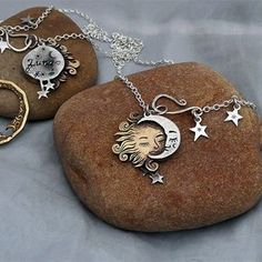 The Hairy Growler Jewellery Co. Echo collection. Original, Pagan, Sun, Moon and stars necklace. Eco-conscious, eco-friendly, ethically responsible, handmade and totally lovely silver jewellery.