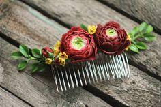 Купить Гребень для волос - бордовый, гребень, гребень для волос, гребень для прически, гребень с цветами