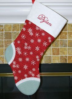 Girls or Boys red and blue personalized Christmas stocking. Music note. Sheet music. Musical. Instrumental. CUSTOM
