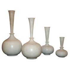 Vicente Wolf Home Indian White Marble Vessels with Fluted Necks