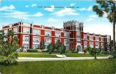Sarasota Florida FL 1940s High School Collectible Antique Vintage Postcard Sarasota Florida FL 1940s High School. Unused E. C. Kropp antique vintage postcard in very good condition with average corner
