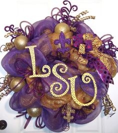 Large LSU Deco Mesh Wreath by WreathsFromMeToYou on Etsy