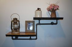 Industrial Pipe Shelves, Black Pipe Shelves, Rustic Shelves, Wood Shelves, Wall Shelves, Black Pipe Wall Shelves, Live Edge Shelf