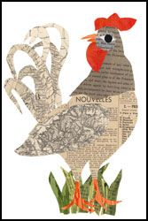 red rooster paper collage printed inch art print, produced with archival quality paper and inks, designed by denise fiedler of pastesf Newspaper Crafts, Book Crafts, Newspaper Collage, Collage Portrait, Collage Art, Collages, Chicken Art, Recycled Art, Art Plastique