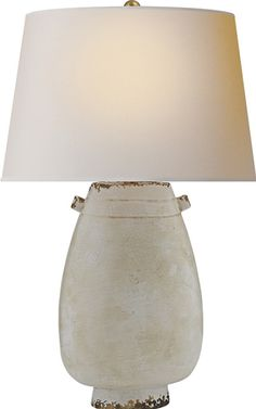 Deng Form Table Lamp In French Pot With Natural Paper Shade