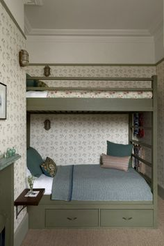 Home Interior, Interior Design, L Wallpaper, Recessed Shelves, Tiny Loft, Built In Bunks, Cool Bunk Beds, Modern Bunk Beds, Bunk Bed Designs