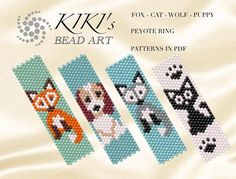 Perlen Pattern peyote animalrings Fox Dog Cat Wolf peyote ring Do Your Own Landscaping Design Know w Loom Bracelet Patterns, Peyote Stitch Patterns, Seed Bead Patterns, Bead Loom Bracelets, Tribal Patterns, Beaded Jewelry Patterns, Beading Patterns, Bead Jewelry, Beading Tutorials