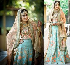 A beautiful raw silk lehenga in sky blue with coral color floral motifs and a coral dupatta by Shireen Shahana for Bride Thanzila Mehjabeen of WeddingSutra. Photos Courtesy- Bitframes