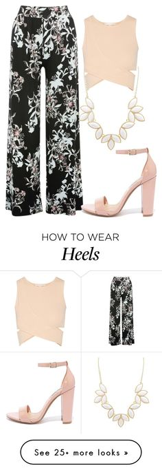 """Black and White Floral Print Trousers and Blush Pink Crop Top with Blush Pink Sandal Chunky Heels"" by danihope on Polyvore featuring Charlotte Russe, M&Co, Jonathan Simkhai and Steve Madden"
