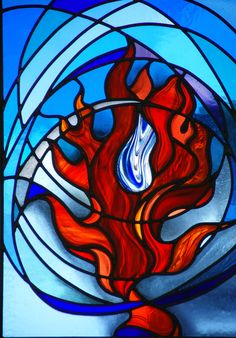 St Walburga's Holy Oil of healing in the flame of the Holy Spirit. St Walburga's School stained glass window by Jude Tarrant of Sunrise Stained Glass, Hampshire UK