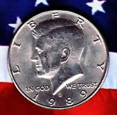 1989 D Kennedy half dollar bu