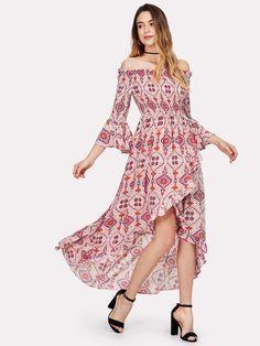 5246bb56 Shop Bell Sleeve Ruffle Trim Asymmetrical Hem Bardot Dress online. SheIn  offers Bell Sleeve Ruffle