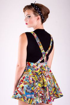 Hand made in the USA by Linda Heredia Suspenders Marvel Comic Book novelty print Circle Skirt. Comes in sizes: Size 4 - XS (Waist Hips 35 - Size 6 - S (Waist 28 - 30 Hips 37 - Size 8 - M (Waist 31 - 33 Hips 39 - Size 10 - L (Waist 34 - 35 Hips 41 - Size Marvel Comics, Marvel Comic Books, Marvel Inspired Outfits, Marvel Dress, Marvel Clothes, Recycled Fashion, Casual Cosplay, Plus Size Skirts, Mode Vintage