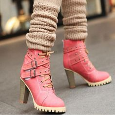 Women Buckle High Heels Ankle Boots #anklebootsoutfit