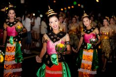 Thai's traditional dance # People float on water # a small rafts krathong # festival