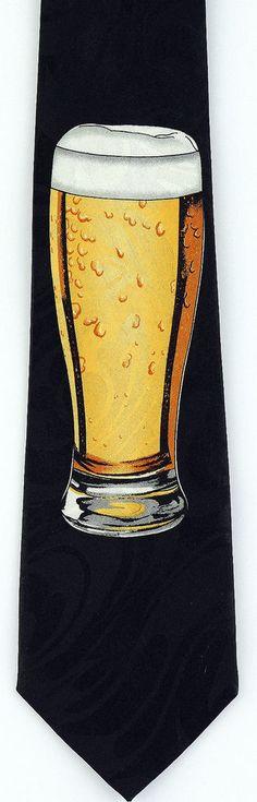 Beer Glass Mens Necktie Alcohol Home Brew Bar Pub Pint Novelty Gift Neck Tie New #StevenHarris #NeckTie