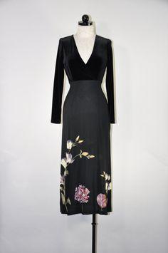 faux wrap long dress / vintage velvet maxi dress / black floral rayon dress