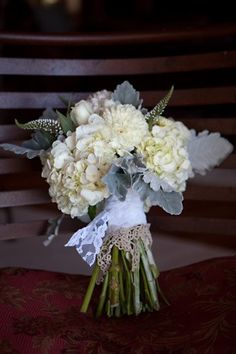 Ivory Hydrangeas and Dusty Miller bouquet for the bridesmaids.