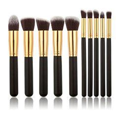 Ambox Makeup Brush Set Premium Synthetic Kabuki Cosmetics Foundation Blending Blush Eyeliner Face Powder Brush Makeup Brush Kit 10pcs Golden Black -- Find out more about the great product at the image link. (Note:Amazon affiliate link)