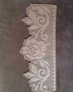 Photo * Rough edge * Non-continuous Crochet Lace Edging, Crochet Borders, Crochet Stitches Patterns, Crochet Designs, Crochet Doilies, Crochet Home, Irish Crochet, Knit Crochet, Filet Crochet Charts