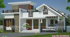 2 bedroom mixed roof modern single floor house plan by Sha Alshifan M K from Malappuram, Kerala. Single Floor House Design, Simple House Design, House Front Design, Modern House Design, House Floor, New Model House, Model House Plan, House Plans, 2 Storey House Design