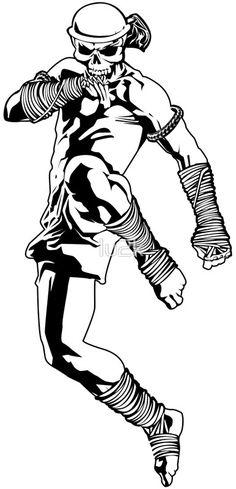 muay thai skull thailand martial art sport power kick impact decal by lu2k
