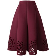 Yoins Burgundy Midi Full Skirt With Cut Flowers Hem ($31) ❤ liked on Polyvore featuring skirts, yoins, burgundy, burgundy midi skirt, floral skirt, elastic skirt, floral print midi skirt and calf length skirts