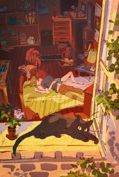 Summer evening, embraces by Baileyley. Modern Astrid and Hiccup with Toothless as a cat :)