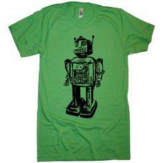 Men's Vintage Robot T Shirt - American Apparel - XS S M L XL and XXL (28 Color Options). $21.00, via Etsy.