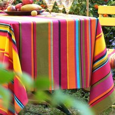 I pinned this Biarritz Stripes Tablecloth in Grosillie from the Alfresco Dining event at Joss & Main!