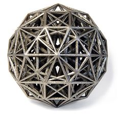 The Bathsheba Grossman is a sculptor who uses cutting-edge technology to render math- and science-inspired shapes in three dimensions. You can buy laser-cut metal ones, or order them in plastic at lower costs from ShapeWays. Geometric Construction, 3d Printed Objects, Platonic Solid, Art Web, Math Art, 3d Prints, Sculpture Art, Metal Sculptures, Sacred Geometry
