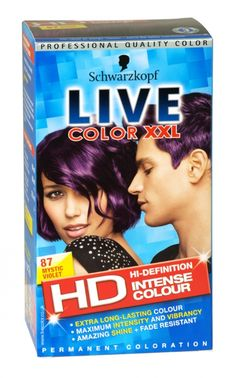 Schwarzkopf LIVE Color XXL 87 Mystic Violet: I get bored easily and can't decide between blonde or plum colour on my hair, so this is my purple dye, when the mood takes me. Red Purple Hair, Violet Hair, Purple Dye, Live Colour Xxl, Schwarzkopf Live Colour, Schwarzkopf Hair, Permanent Purple Hair Dye, We Will Rock You, Hair Dye Colors