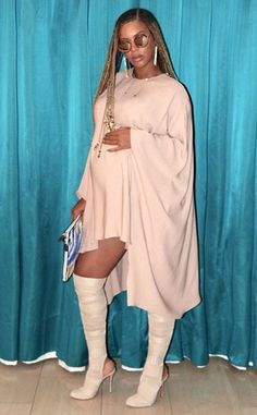 Those Boots from Beyonce's Pregnancy Fashion With Twins  The singer showcases a daring style while wearing her Sunday Somewhere sunglassesand a Valentinomini dress in her third trimester.